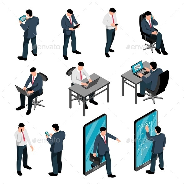 Men with Device Isometric Set - People Characters