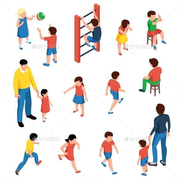 Children Isometric Set - People Characters