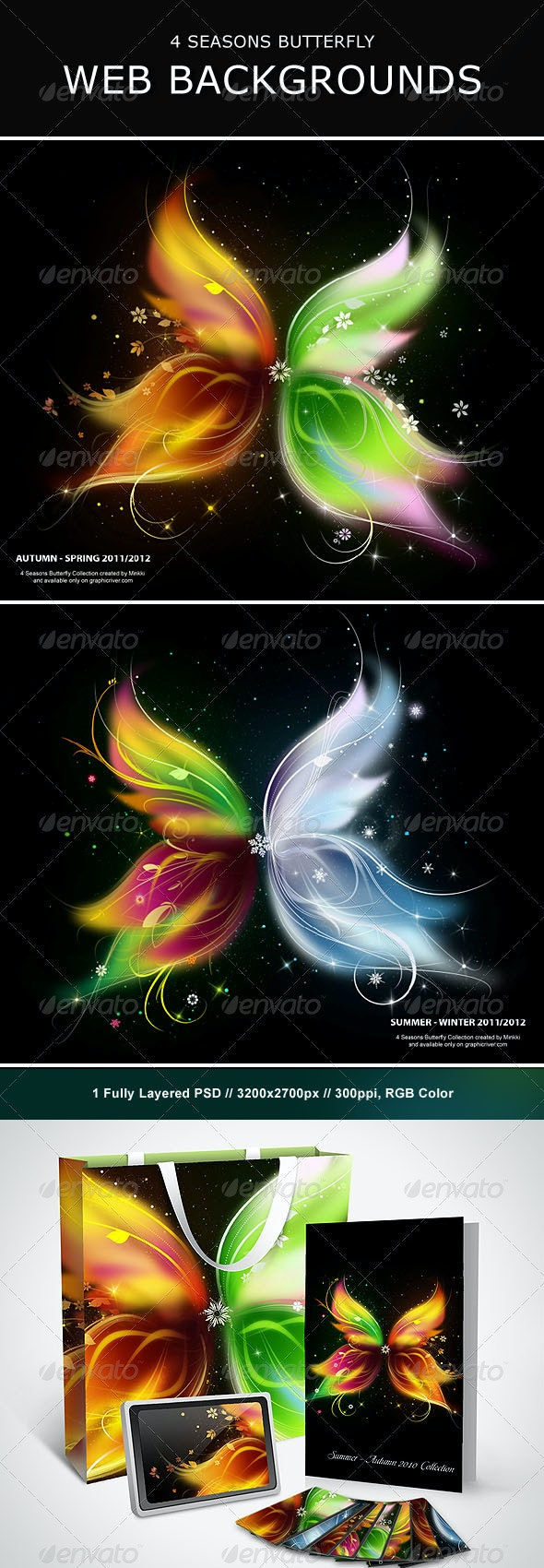 4 Seasons Butterfly Web Backgrounds - Backgrounds Graphics