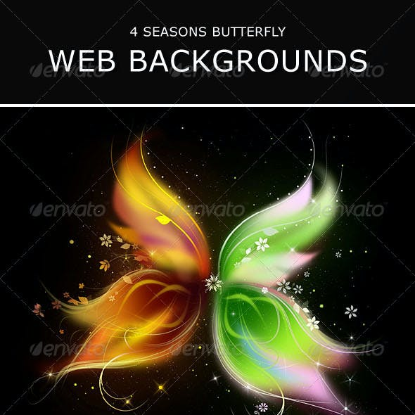 4 Seasons Butterfly Web Backgrounds