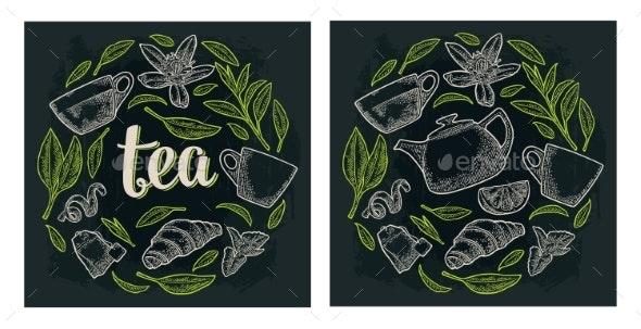 Set with Lettering Tea - Flowers & Plants Nature
