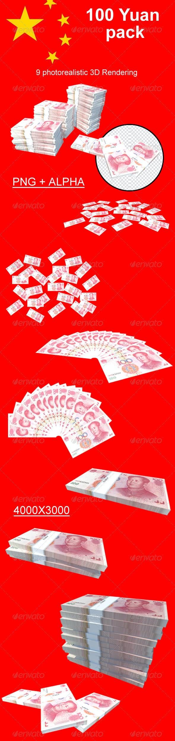 100 Yuan // Pack - 3D Renders Graphics