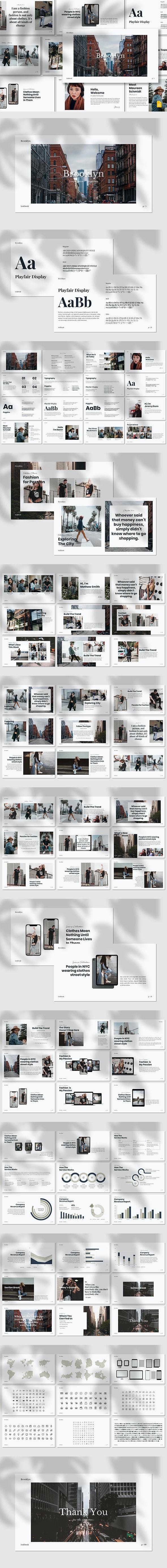 Brooklyn - Lookbook Google Slides Template - Google Slides Presentation Templates