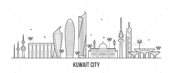 Kuwait City Skyline Vector Linear Style Buildings - Buildings Objects