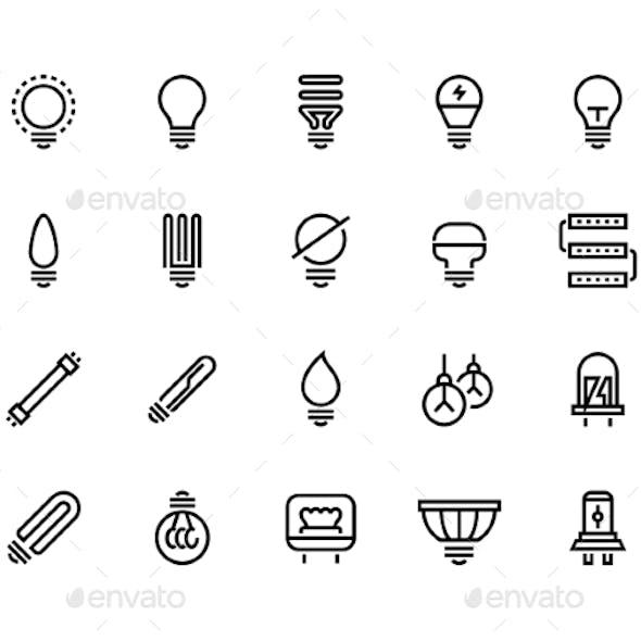 Light Bulb Line Icons