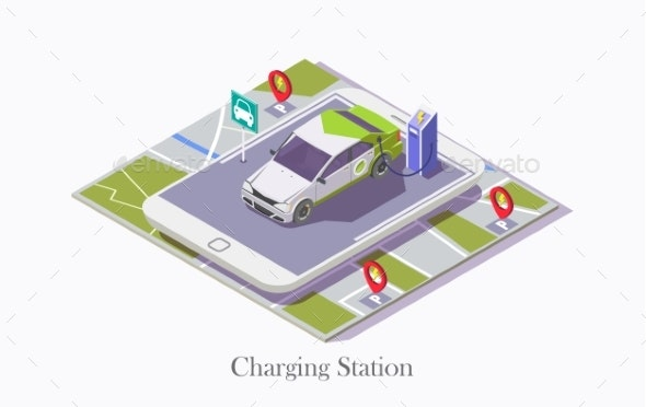 Charging Station Technology Vector Web Banner - Man-made Objects Objects