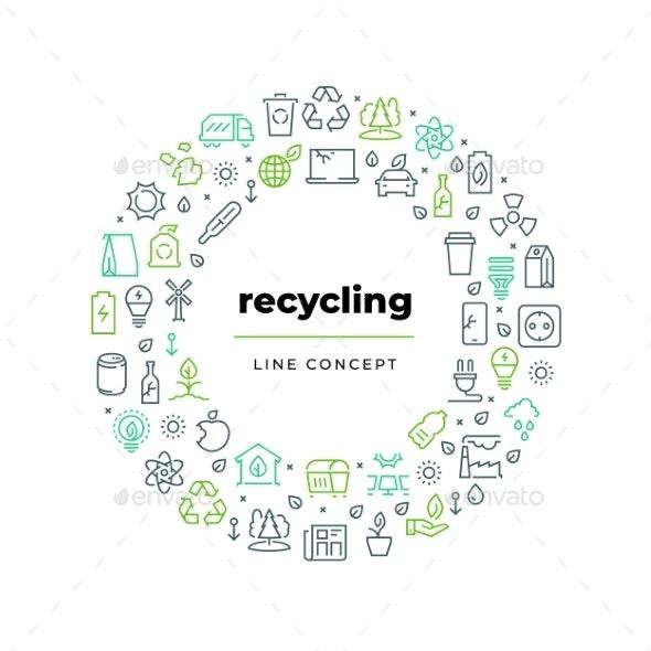 Zero Waste Recycle Line Concept - Flowers & Plants Nature