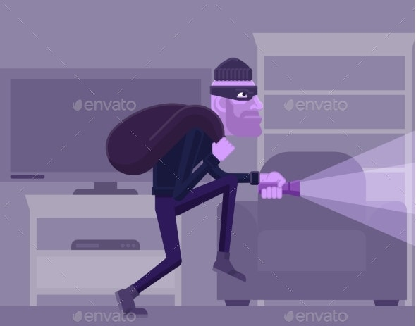 Thief Burglar Robber Criminal Cartoon Scene - Miscellaneous Vectors