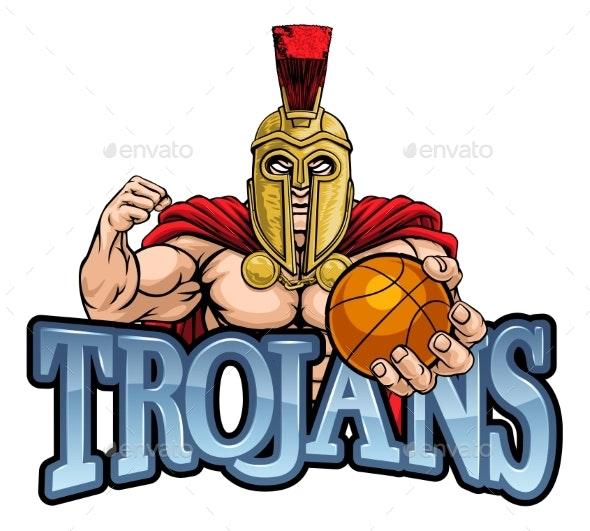 Trojan Spartan Basketball Sports Mascot - Sports/Activity Conceptual