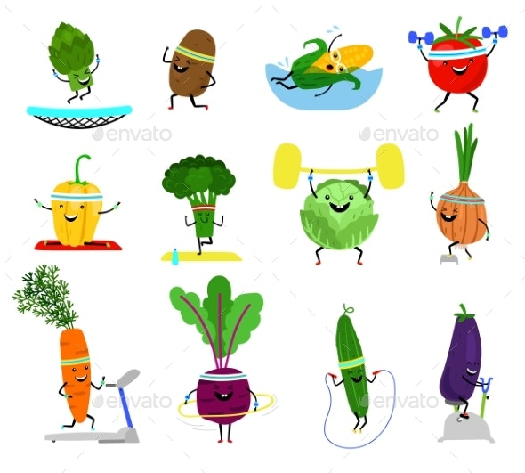 Vegetables Sports Characters - Food Objects
