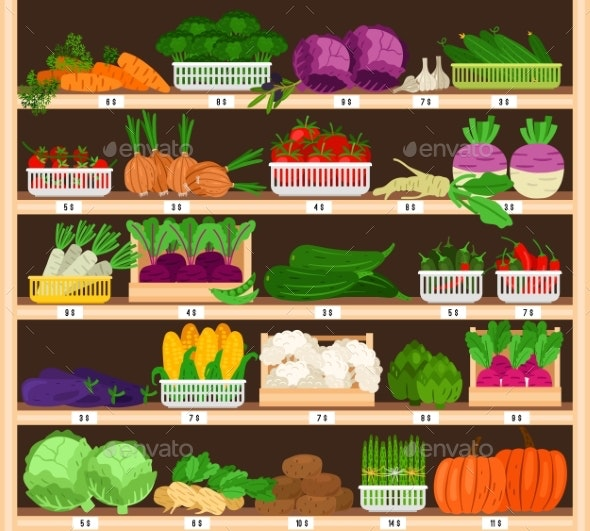 Vegetables on Shelves - Food Objects