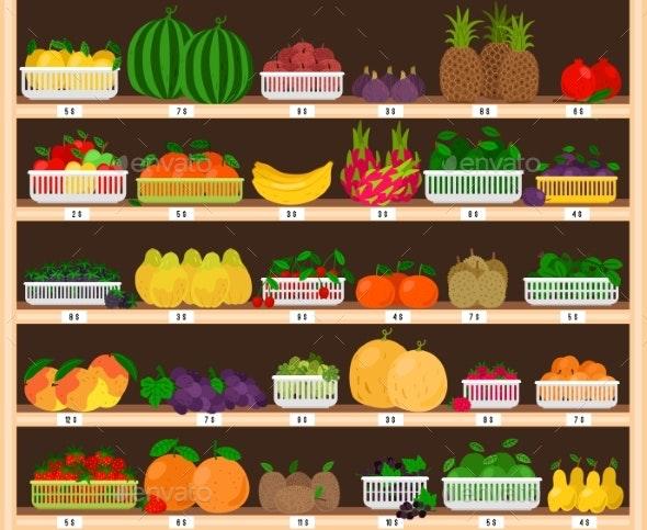 Fruits Supermarket Shelves - Food Objects