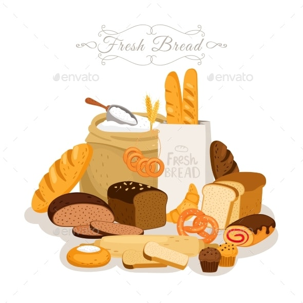 Cartoon Bread Flour and Pastries - Food Objects