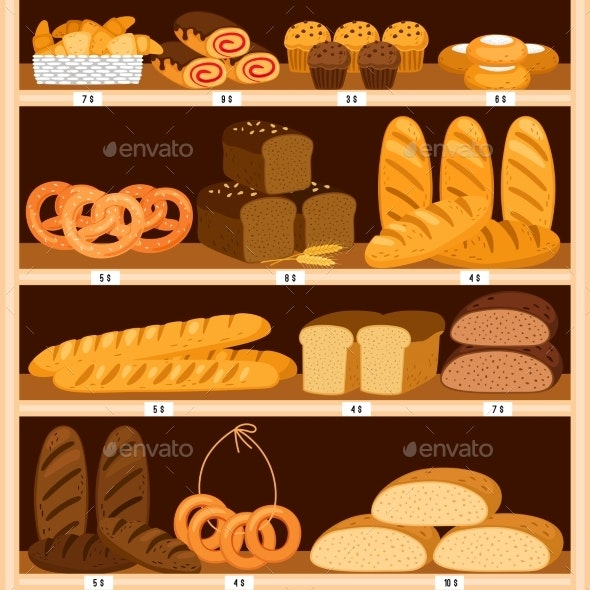 Grocery Breads Shelves - Food Objects