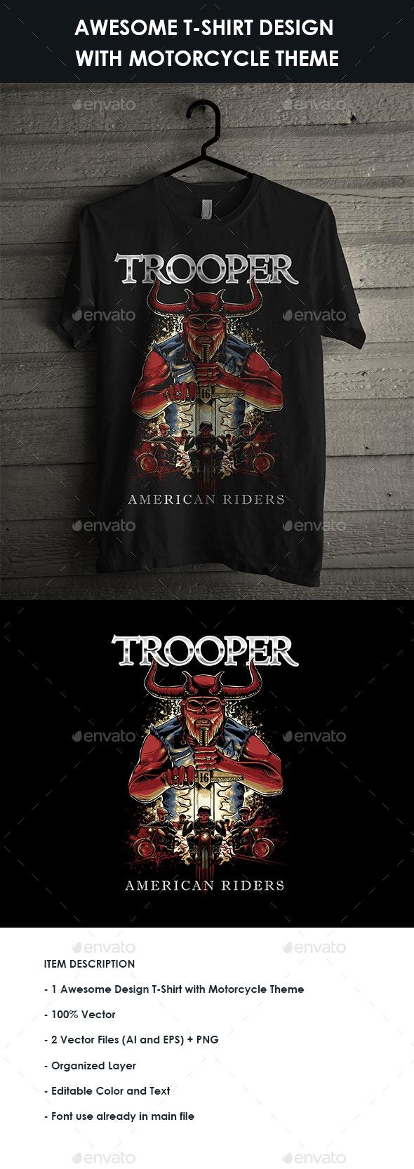 Devil illustration for Motorcycle t-shirt design - Sports & Teams T-Shirts