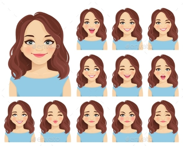 Woman Expressions Set - People Characters
