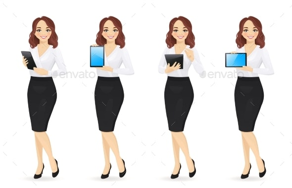 Business Woman with Gadgets - Miscellaneous Vectors