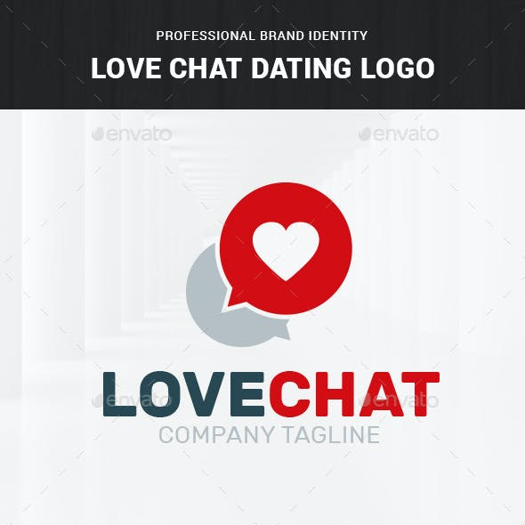 Love Chat Dating Logo Template
