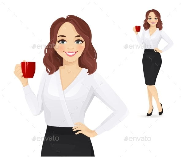 Elegant Business Woman with Coffee Cup - People Characters