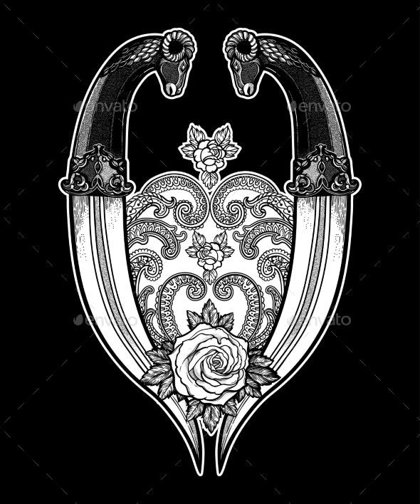 Tattoo Flash Rose with Two Daggers - Decorative Symbols Decorative