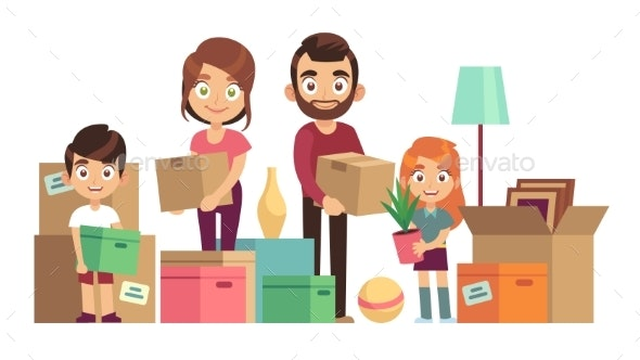Family Moving New Home - People Characters