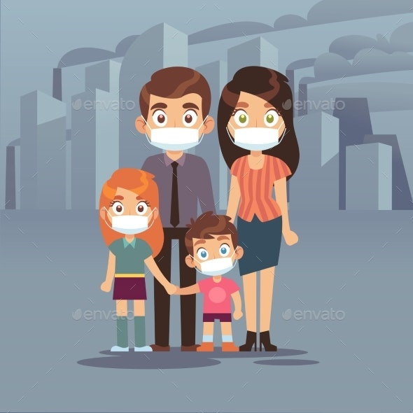 Family City Smog - People Characters
