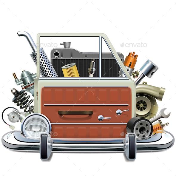 Vector Car Door with Automotive Parts - Industries Business