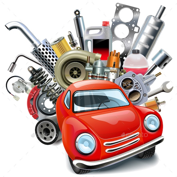 Vector Red Automobile with Car Spares - Industries Business
