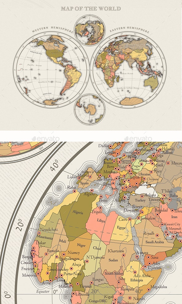 Small Scale Vector Color Map of Hemispheres - Miscellaneous Vectors