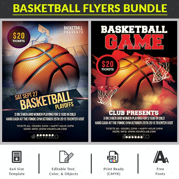 BasketBall Game Flyers Bundle