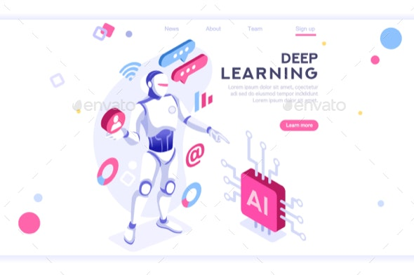 Artificial Intelligence Banner Isometric - Miscellaneous Vectors