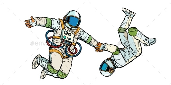 Couple in Love Astronauts Holding Hands - People Characters