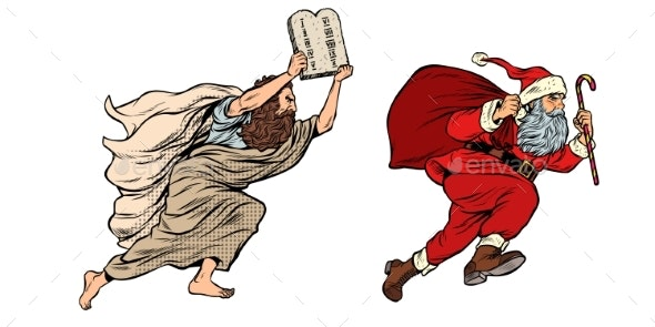 Moses and Santa Claus Dispute Old and New - Religion Conceptual