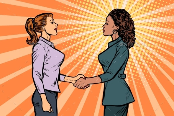 African and Caucasian Businesswomen Shaking Hands - Concepts Business