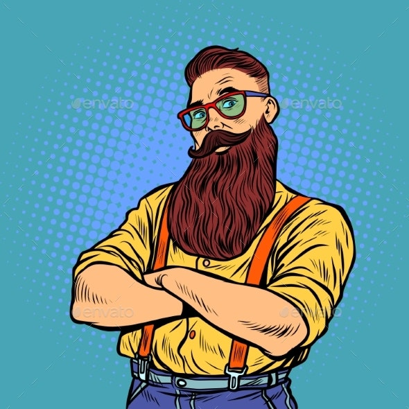 Bearded Hipster with Glasses - People Characters