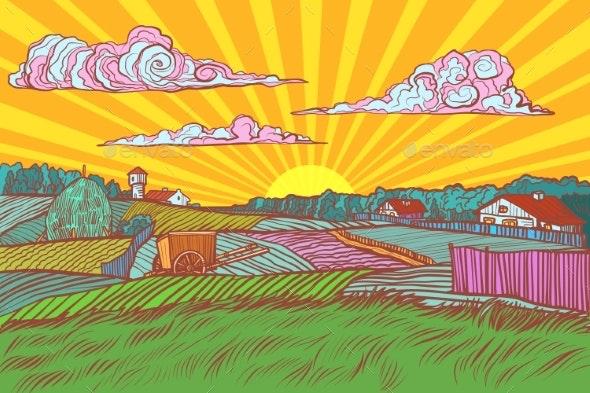 Pop Art Rural Landscape Sunrise Morning - Landscapes Nature
