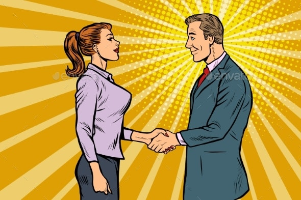 Businessman and Businesswoman Handshake - Concepts Business
