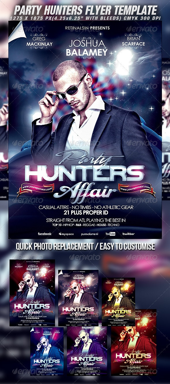 Party Hunters Flyer Template - Clubs & Parties Events
