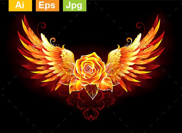 Fire Rose with Wings - Decorative Symbols Decorative