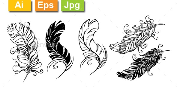 Fluffy Feathers - Tattoos Vectors