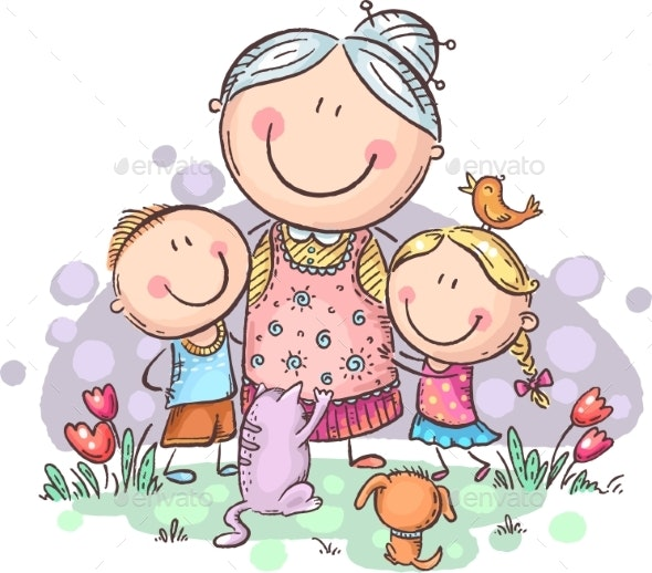 Everyone Loves Granny. Grandmother & Grandchilren - People Characters