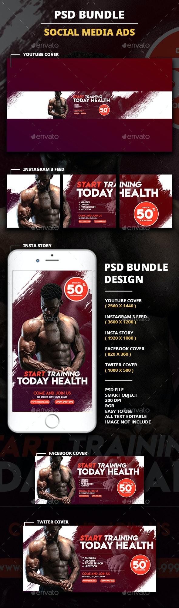 Fitness Social Media Pack - Social Media Web Elements