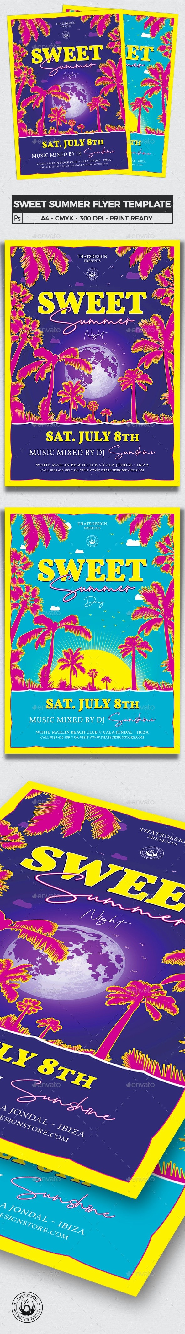 Sweet Summer Flyer Template - Clubs & Parties Events