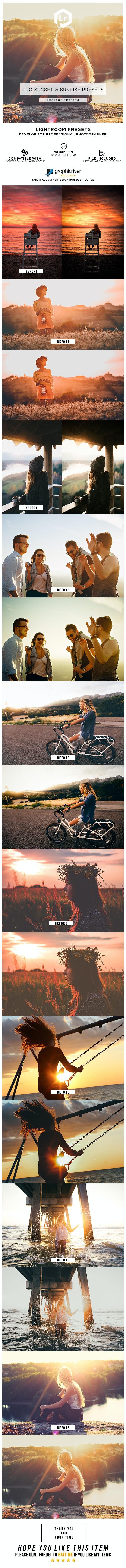36 Pro Sunset & Sunrise Presets - Lightroom Presets Add-ons