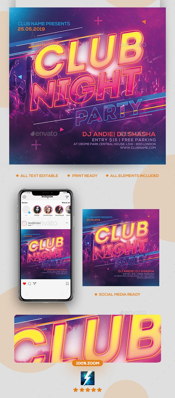 Club Night Party Flyer - Clubs & Parties Events
