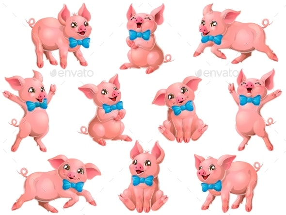 Set of Pink Pigs with Blue Bow - Animals Characters