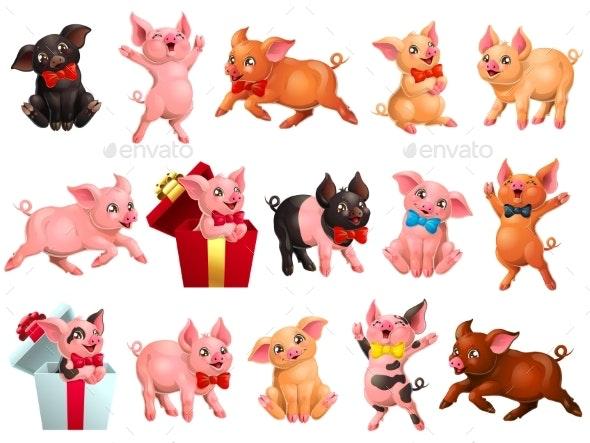 Set of Joyful Pigs on White - Animals Characters
