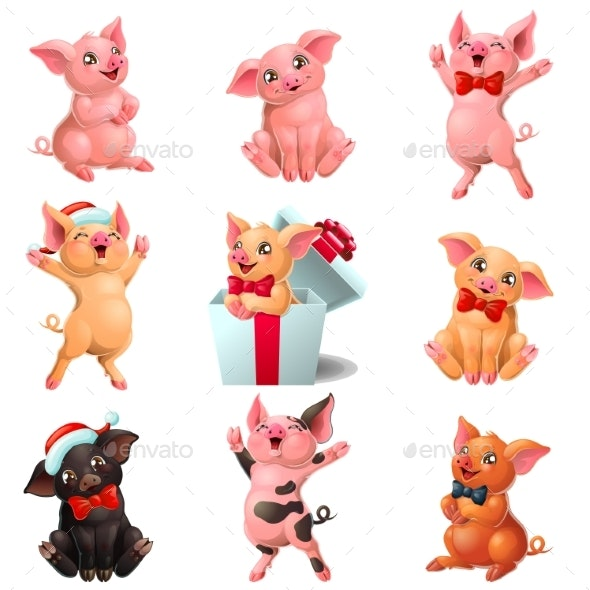 Set Joyful, Cute and Lovely Pigs on White - Animals Characters