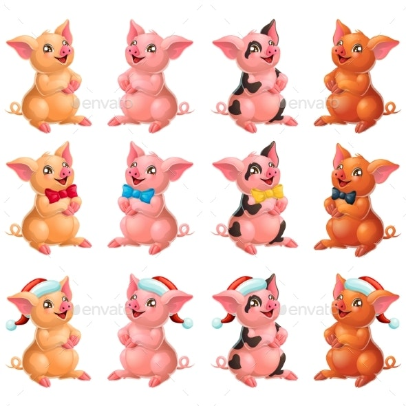 Set Lovely Pigs with Bow and Cap on White - Animals Characters