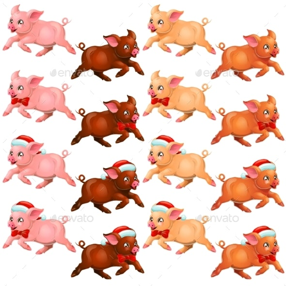 Set Runing Pigs with Bow and Cap - Animals Characters